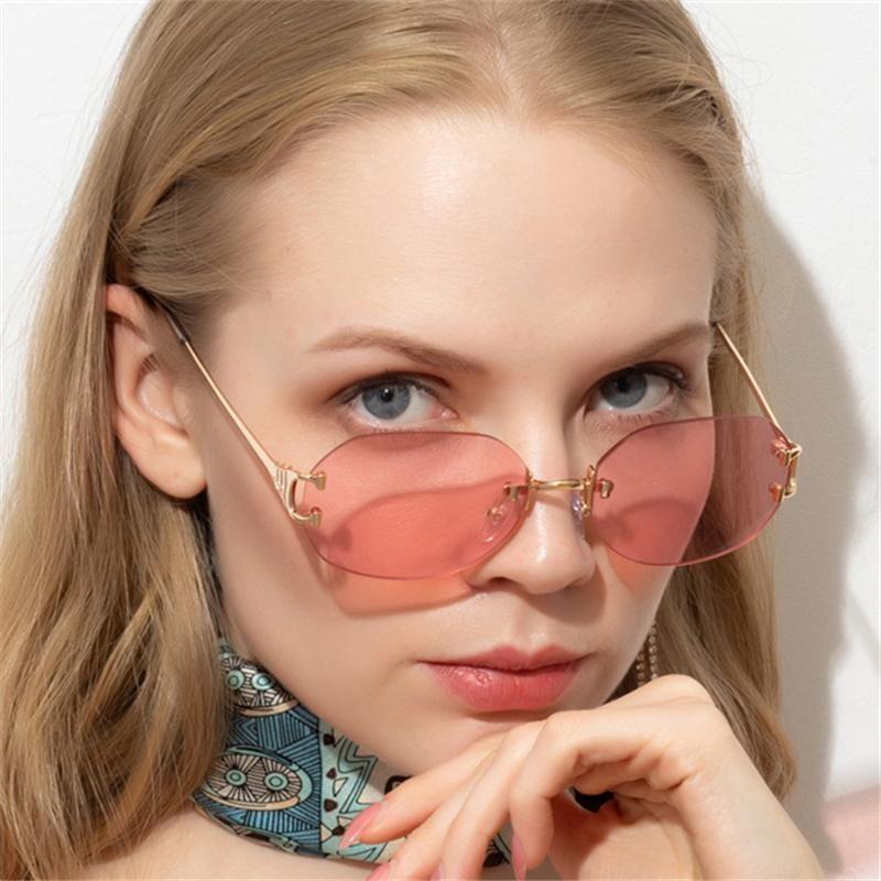 Lunettes de soleil sans chasse ovales Femmes hommes de luxe Garnissant lunettes de soleil Vintage métal 90s lunettes mode transparent rose lunettes UV400