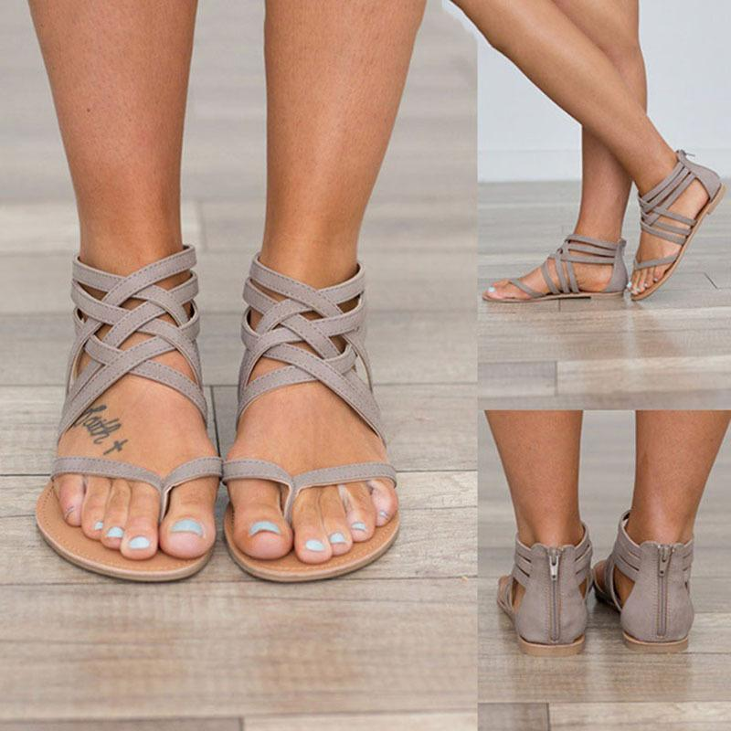 2020 Flat-footed Female Roma Split Hollow Toe Off Mujer Zapatos Sandals 20yc