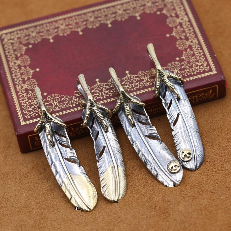 Personalized new 925 sterling silver jewelry brand antique silver hand-made designer necklace pendants eagle claw & feather mens