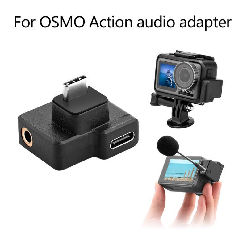 데이터 전송 커넥터를 충전 DJI OSMO 액션 카메라 지원 배터리에 대한 3.5mm의 마이크 마이크 오디오 어댑터 듀얼 USB-C