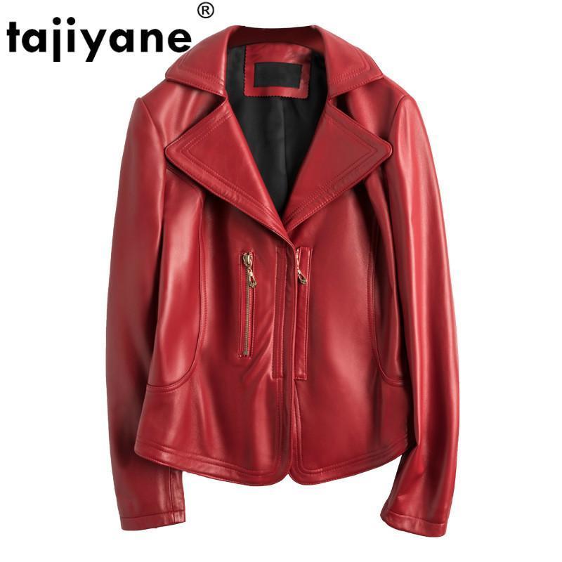 Spring Autumn Real Genuine Leather Jacket Women Clothes 2021 Sheepskin Coat Female Jacket Korean Vintage Short Red Tops ZT3983