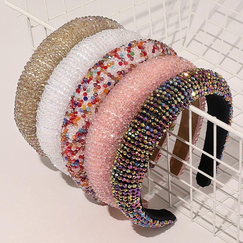 29colors Lüks Bejeweled Yastıklı Kafa Moda Kadınlar Pırıltılı Yenilik Bantlar saç aksesuarı için lüks Rhinestones Sünger hairbands