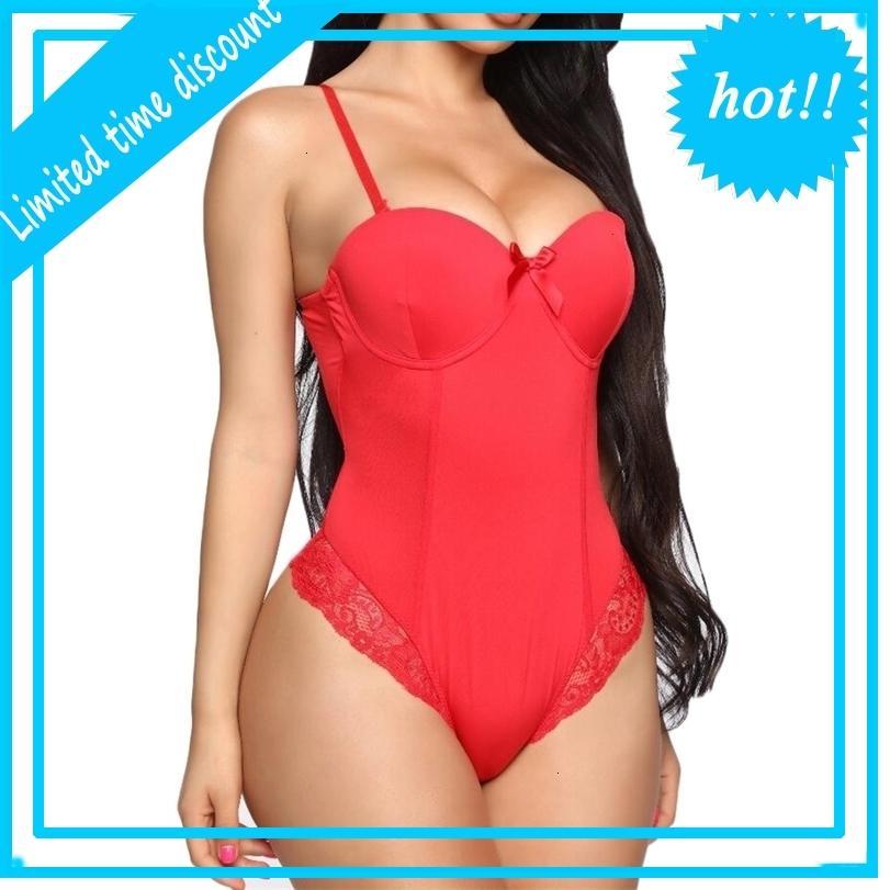 Jump d'été Costumes Lady Bowknot V cou Bodycon Dentelle Body Tops Noir Sans manches Jumpsuit Sexy Femmes Vêtements S-3XL