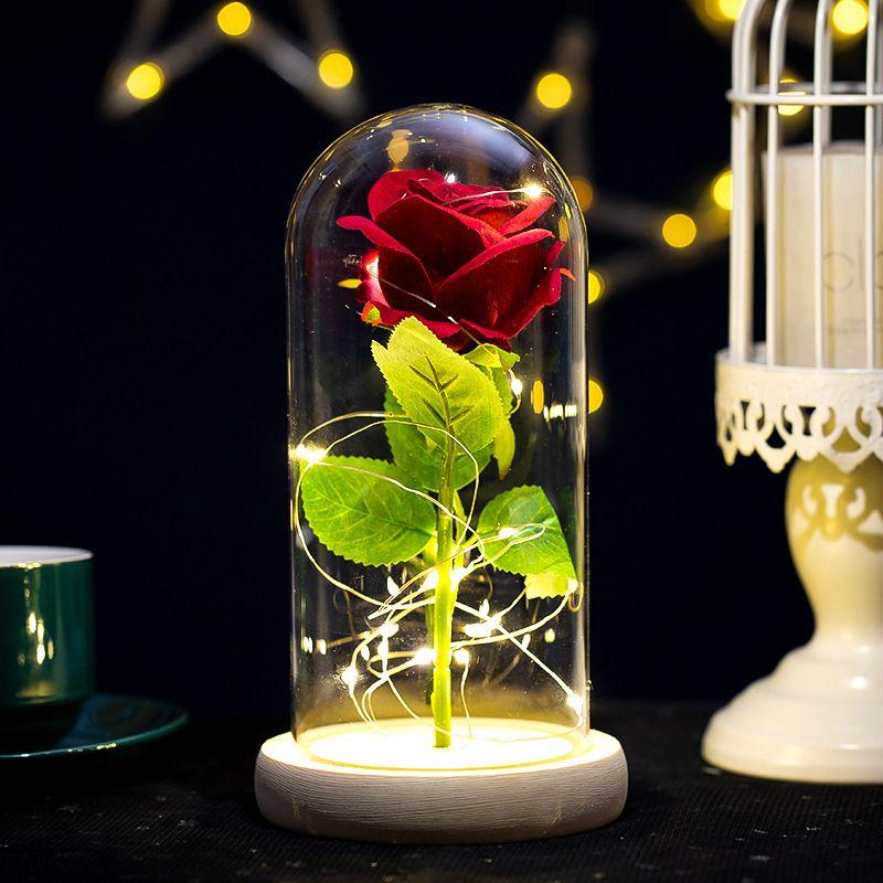 ارتفع الأبدية زهرة الزجاج قبة أدى ضوء عيد ميلاد عيد الميلاد عيد الحب هدية المنزل ديكور المنزل JK2101PH