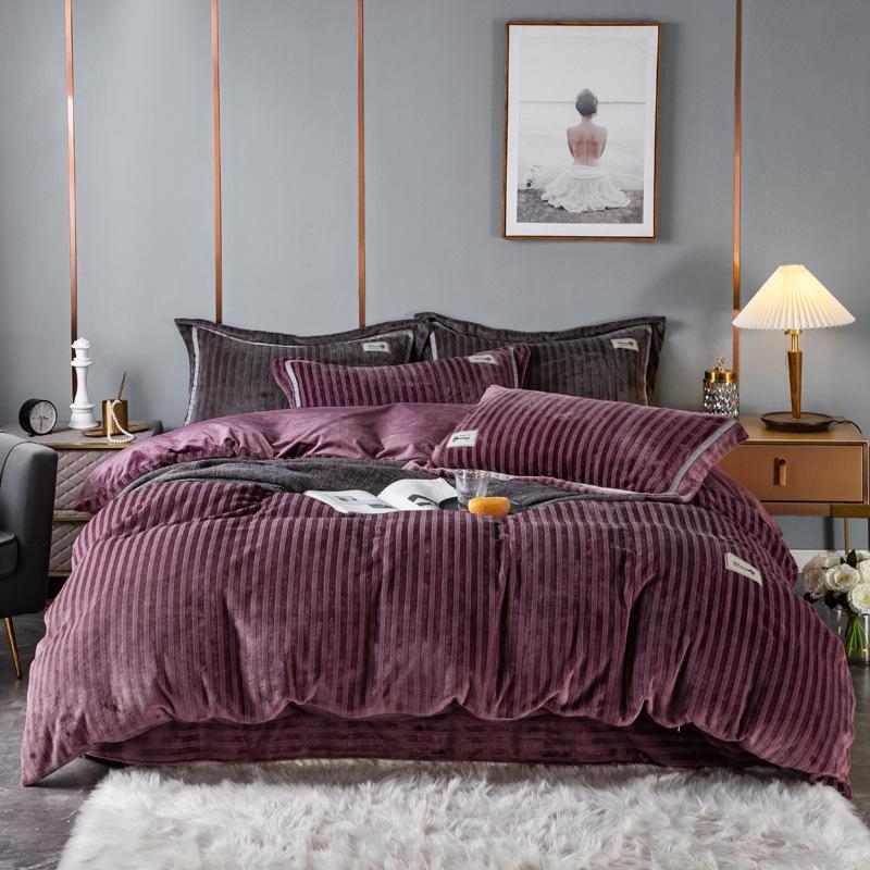 4PCS Thick Duvet Cover Set Velvet Hotel Bedding Warm Double Side Sheet Cover Jacquard Velvet Printing Dyeing Applique Design 200*230 220*240