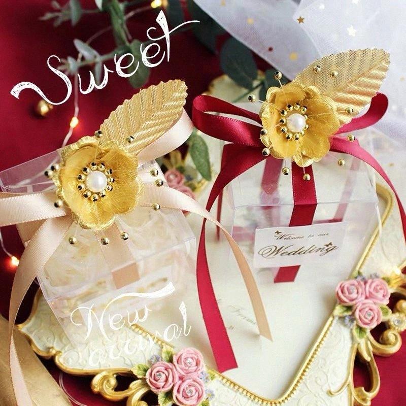 Favores y regalos de boda caja de plástico PVC caja del caramelo de chocolate embalaje Decoración de fiesta Etiqueta Flores favorece las cajas de papel de regalo Storag jsVu #