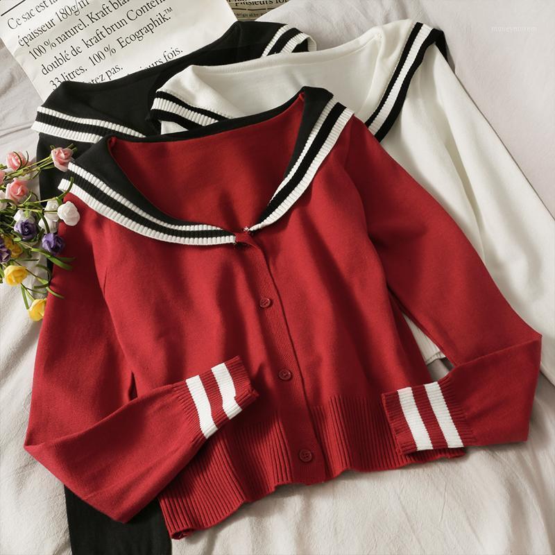 2021 New Striped Sailor Collar Short Single-Bresed Cardigan Maglione da donna Autunno e inverno Allentato a maniche lunghe a maniche lunghe Top1
