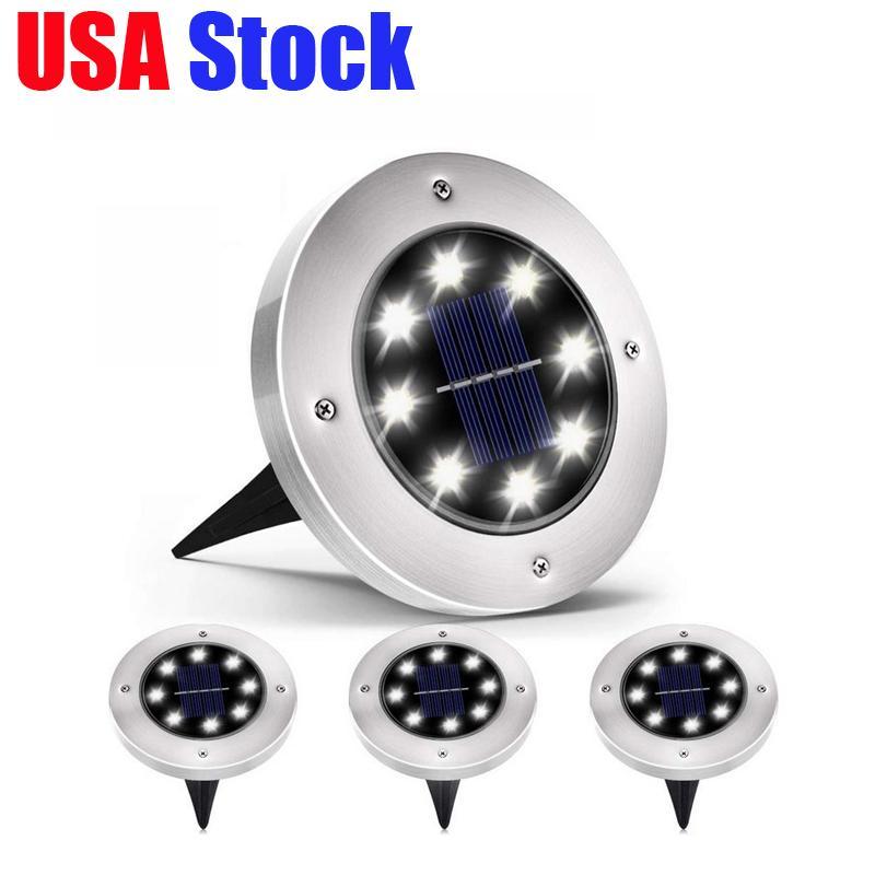 USA Stock Lighting ao ar livre painel de energia solar levou lâmpadas de chão deck luz 8 LEDs subterrânea luz jardim caminho luzes pontuais