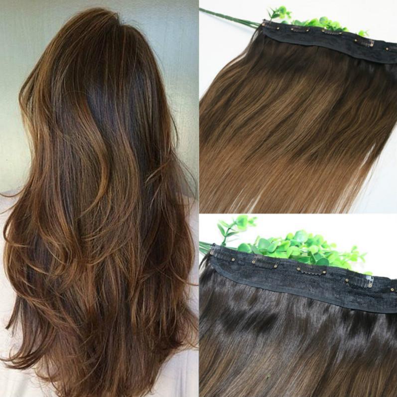 Una pieza de clip en las extensiones 5Clips con el cordón recto brasileño de la Virgen Ombre de pelo oscuro Marrón Balayage 2/6