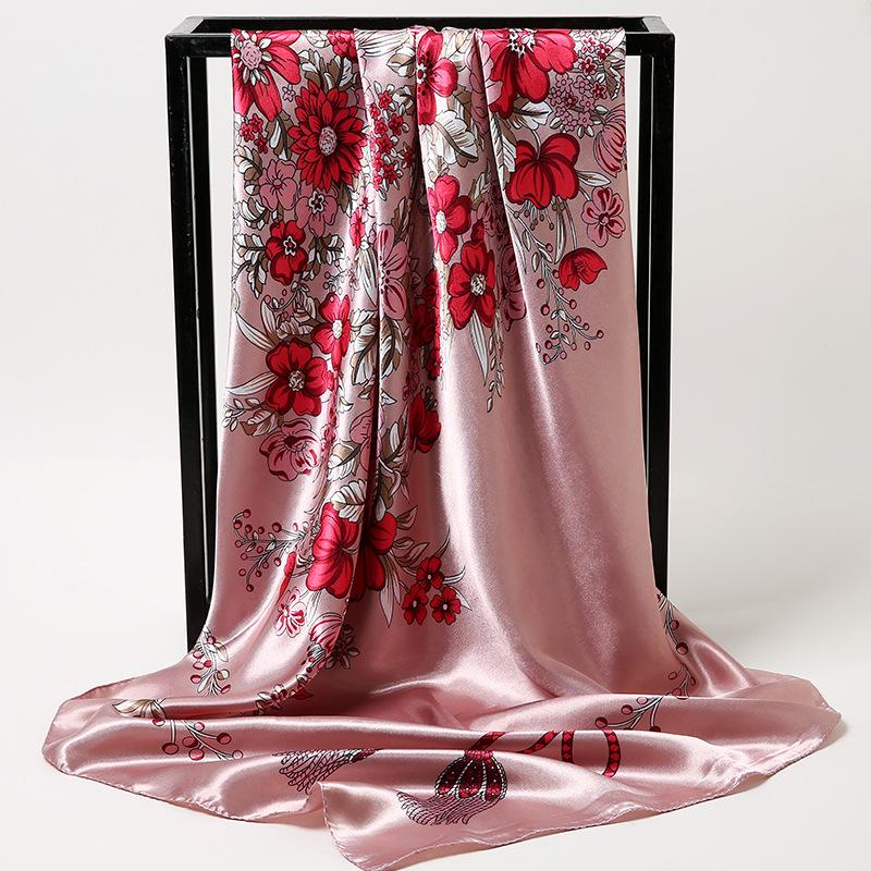 Pequeña seda bufanda hembra imitación seda grande paquete cuadrado retro primavera y otoño cuadrado bufanda venta al por mayor