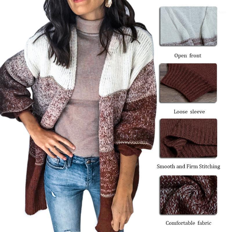 Damen Langarm Open Chunky Warme Hohl Cardigans Pullover Pullover1