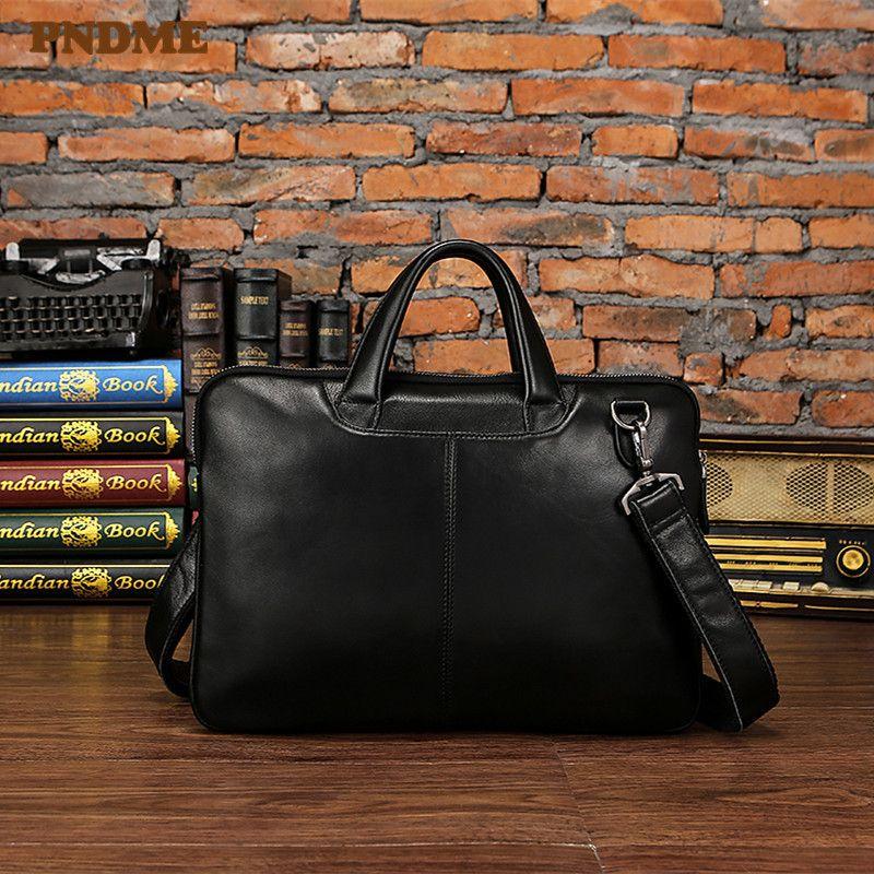 HBPPNDME men's genuine leather briefcase business laptop bag vintage simple first layer cowhide lawyer messenger bags work handbags Q0112