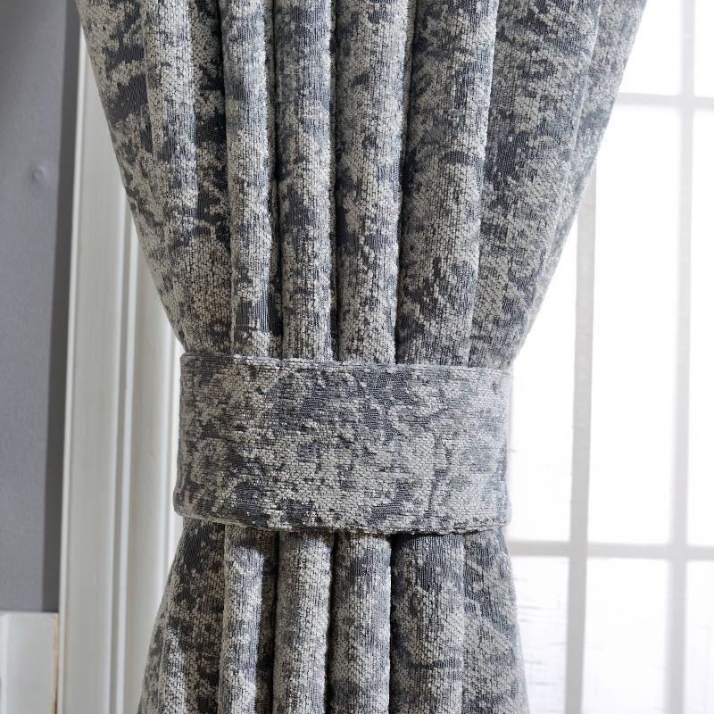 Rideau rideaux rideaux personnalisés luxe nordique simple chenille moderne chenille jacquard épais tissu gris bleu tulle n409