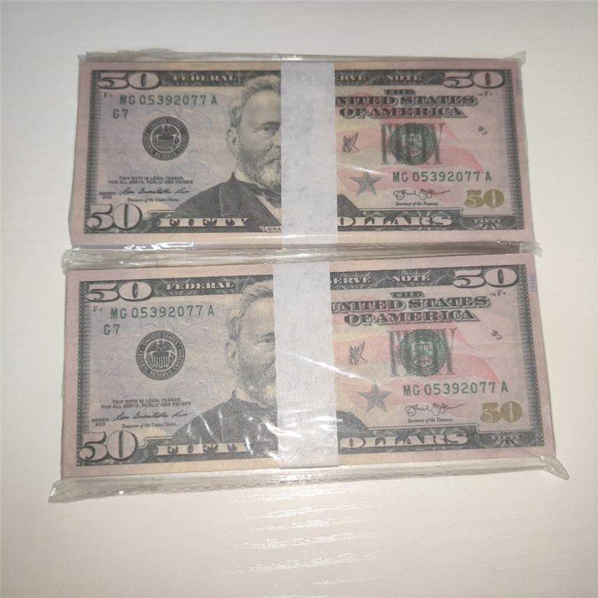 Pièces d'expédition / Forfait Dollar Props 100 Atmosphère Papier américain Money accessoires 50-4 Papier en gros Barre de devises rapide QMTLG EOVCT