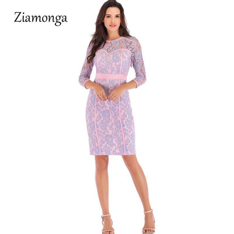 Ziamonga elegante luva Partido Longo Bodycon Mulheres vestido de cintura alta lápis vestido elegante senhora do escritório Vestidos de Inverno Lace