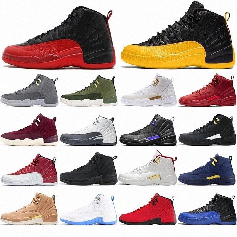 air jordan retro 12 jordans 12s off white Avec Boîte Mens DMP 12s Chaussures de basket Flu Game XII Dark University Gold Stone Blue Hommes Traperateurs Jumpman 23 Sports Sneakers