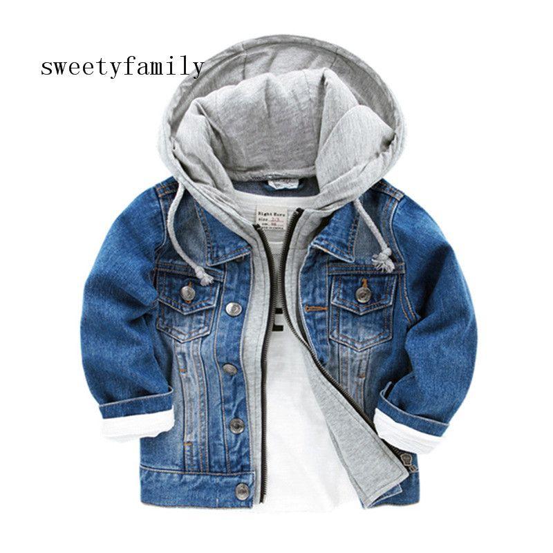 الأزرق هوديس سترة جينز لطفل رضيع الأزياء شوارع ملابس كول سحاب بلوزة السحب الكاذبة قطعة معطف شحن مجاني