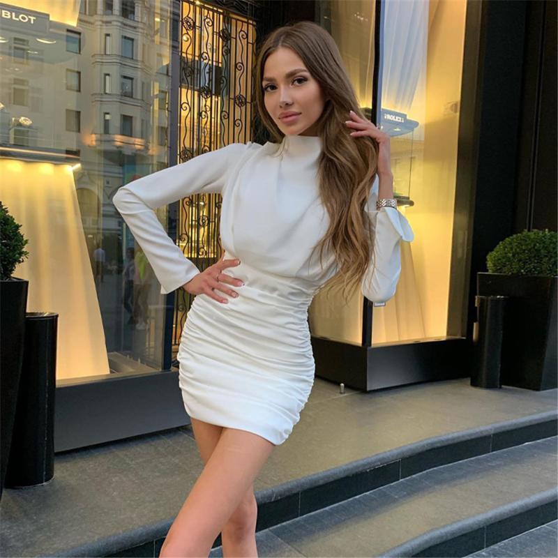 2020 Mujer flaca vestido otoño invierno sexy manga larga color sólido cuello redondo ruchada de una pieza de ocio de mediana edad