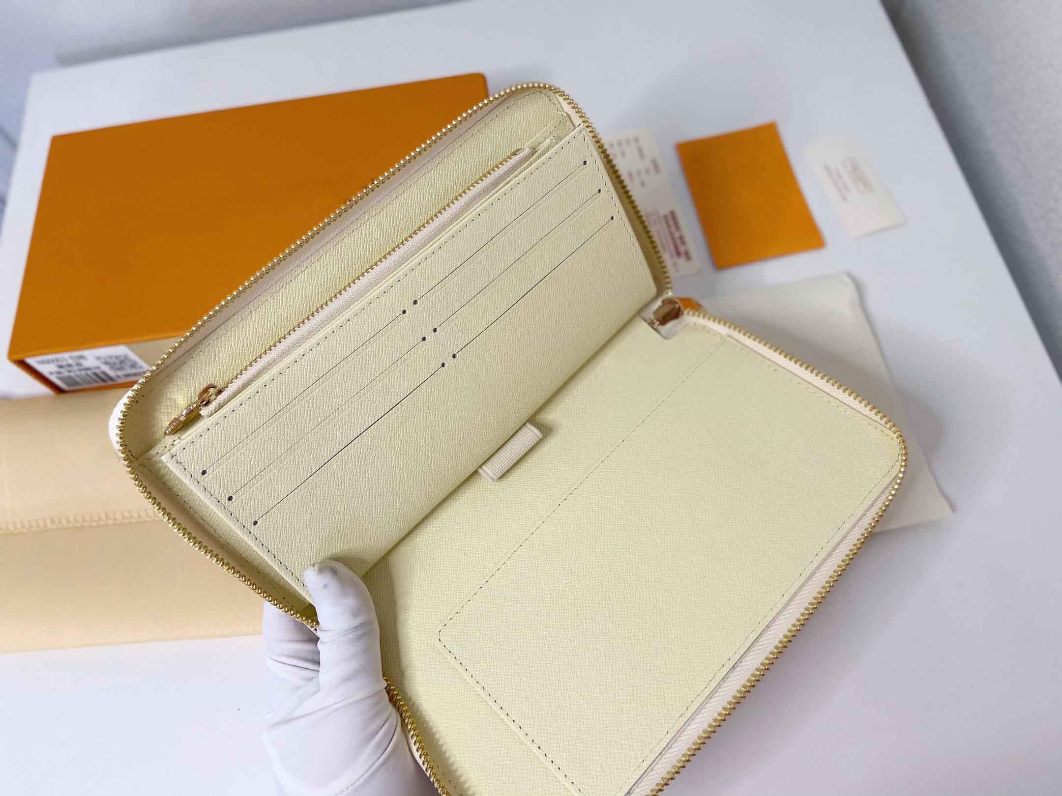 Популярные мужчины женские сцепления кошелек кожаный кожаный одиночный молния кошельки леди длинная классическая высокая мощность кошелек оригинальные держатели коробки 60003 21x11