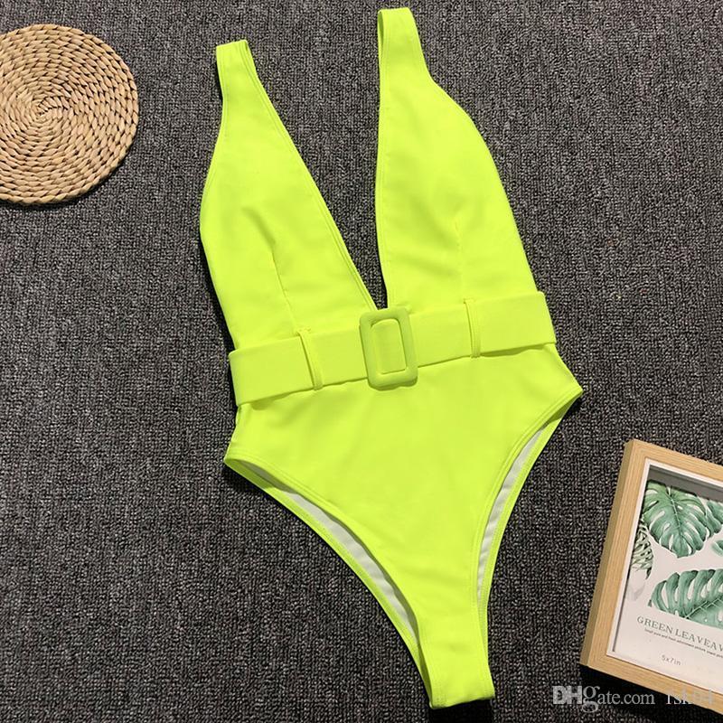 Глубокий V неоновый зеленый One Piece Купальники 2019 Женщины Leopard Купальники Женский Waistband Monokini высокой талией купальный костюм плавать Bodysuit