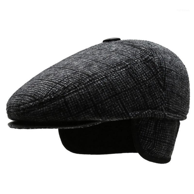 القبعات رجل مع حماية الأذن الشتاء القبعات القطن الصلب اللون الحفاظ على الدافئة سميكة و لينة الأزياء في الهواء الطلق 1