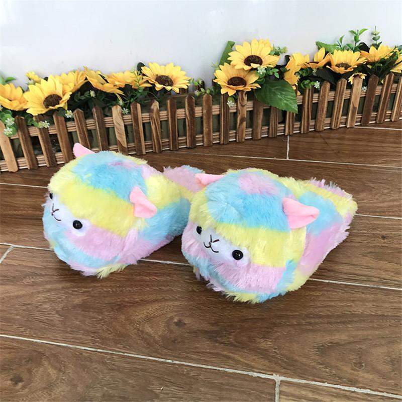 Winter Unisex Cartoon Grass Mud Horse Slippers Soft Plush Warm Home Slides Ladies Indoor Floor Cotton Shoes Big Size 35-431