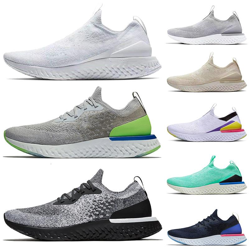 Hot Selling Trainers Breathable Tennis Epic React Fly knit Men Women Running Shoes ALL White Grey Volt Cookies Cream Sport Sneakers 36-45