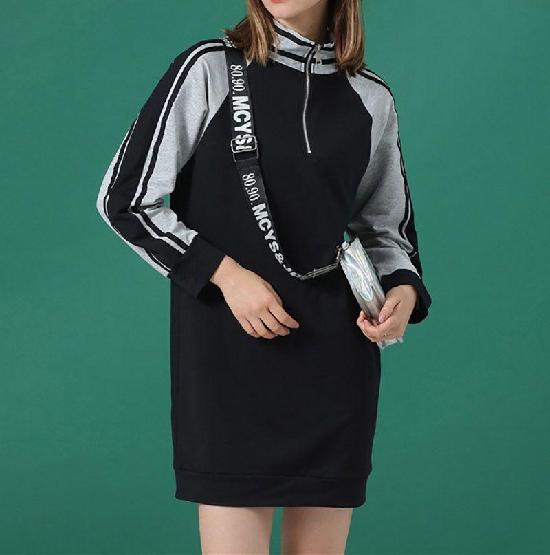 Femmes à capuche Automne New Femmes Long à capuche précarisés manches longues Patchwork Sweatshirt Mode Vêtements pour femmes 2 couleurs Taille S-XL