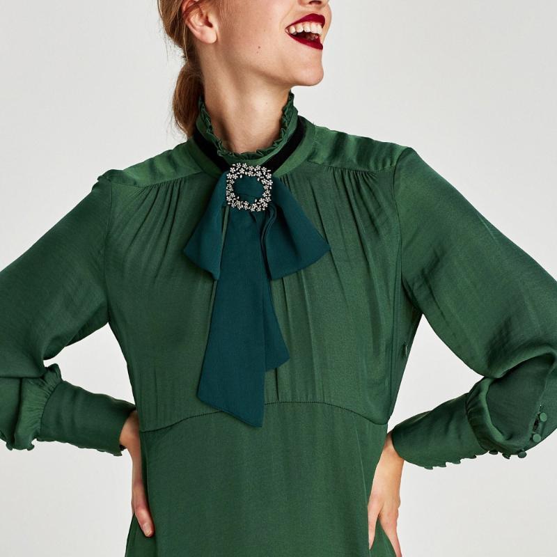 Boyun Bağları Fantezi Moda Uzun Şifon Kumaş Yay Kadınlar Için Parti Elbise Gömlek Kravat Sahte Yaka Kraagjes Dames Nep Kraag