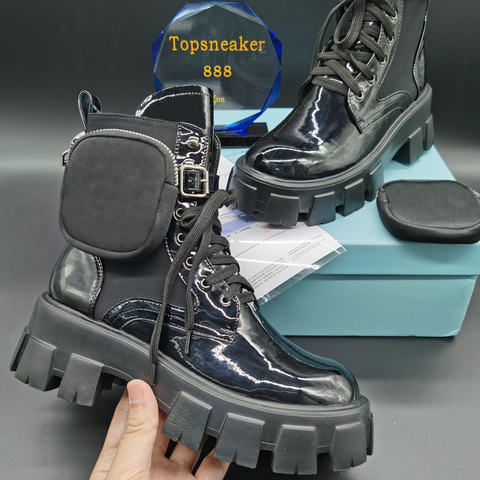 أعلى جودة العائدات العفنات النساء الأحذية الكاحل مونوليث حقائب الأحذية النسائية الأسود جلد حقيقي النايلون كوني المرفقة الشتاء أحذية الحجم US4-10