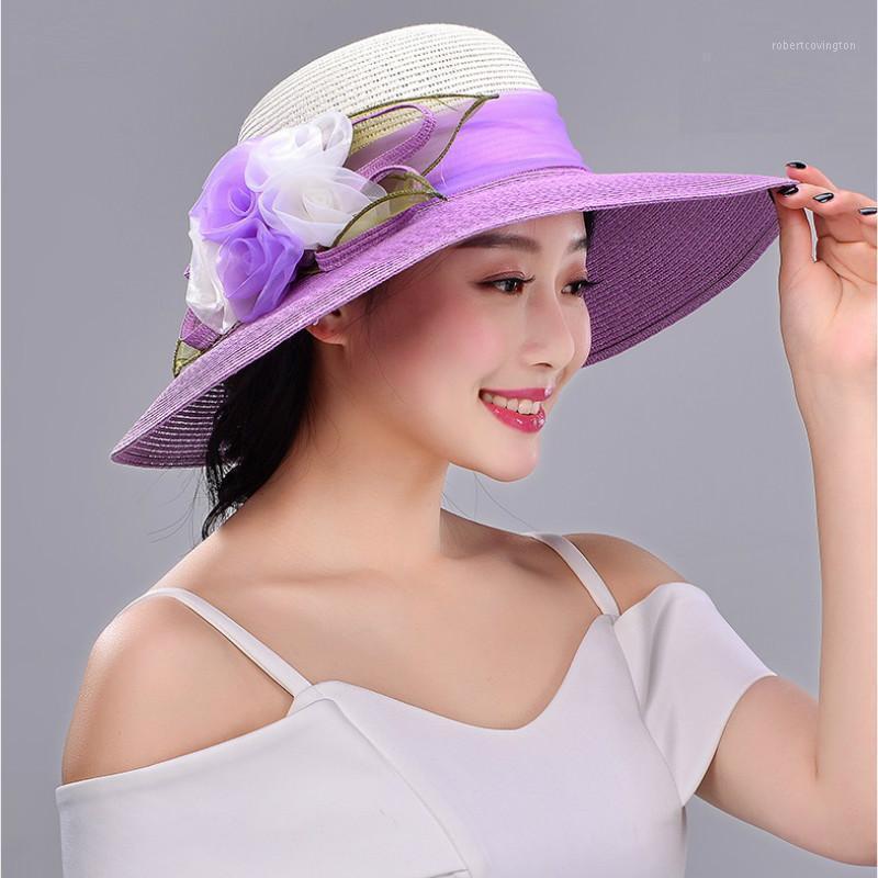 Широкие шляпы Breim Hats Sun Hat Wenge All-Match Складные Студенты Студенты Складные Солнцезащитный Крышка Девушки Путешествия Солома B-77001