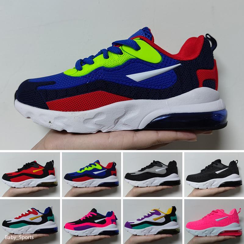 Nike Air Max 270 React Poco costoso caldo Bambini Athletic Shoes bambini 27 scarpe casuali delle scarpe da tennis lupo grigio del bambino di sport per i ragazzi della neonata