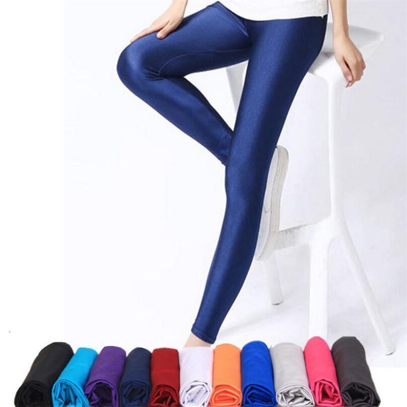 Brillantes de las mujeres de las bragas de las polainas vendedoras calientes polainas color sólido fluorescente Spandex Elasticidad Casual Pantalones Shinny Legging