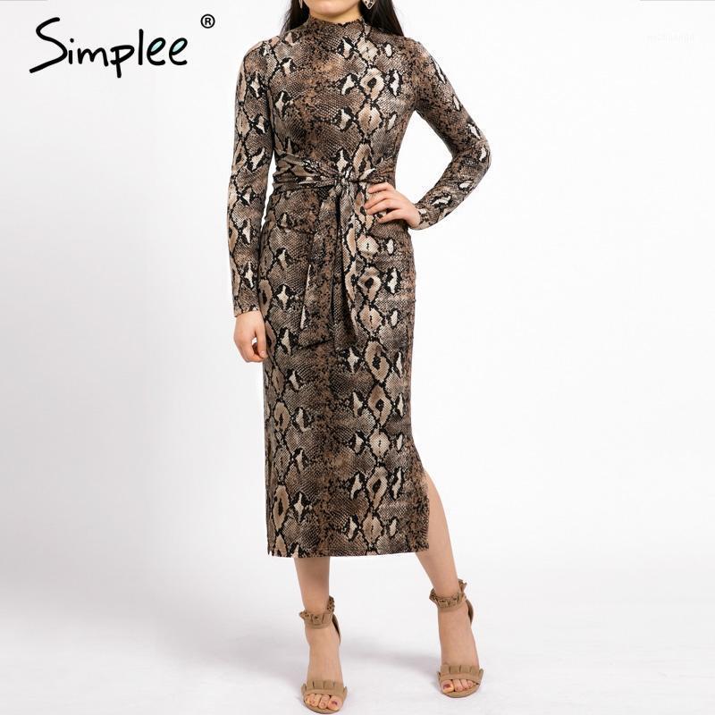 Повседневные платья Simple Sexy Leopard Print Женщины Длинные платья Осенний Рукав Sashes Bodycon Элегантная Партия Женский Веситидос1