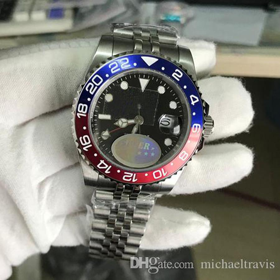 탑 v3 버전 아시아 ETA 2813 무브먼트 남자 시계 배트맨 세라믹 베젤 사파이어 유리 망 시계 빛나는 다이빙 방수 50m 선물 시계