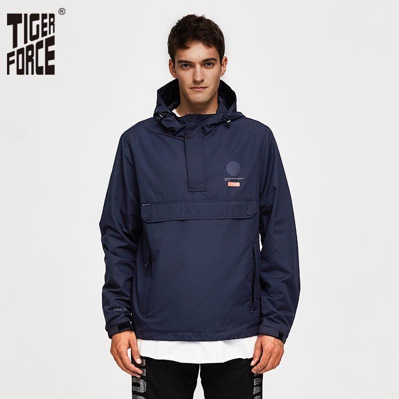 TIGER FORCE Men Jacket Primavera Casual Jacket Casacos com capuz casaco de capuz Tamanho Europeia 201019 Side Zipper bolso frontal
