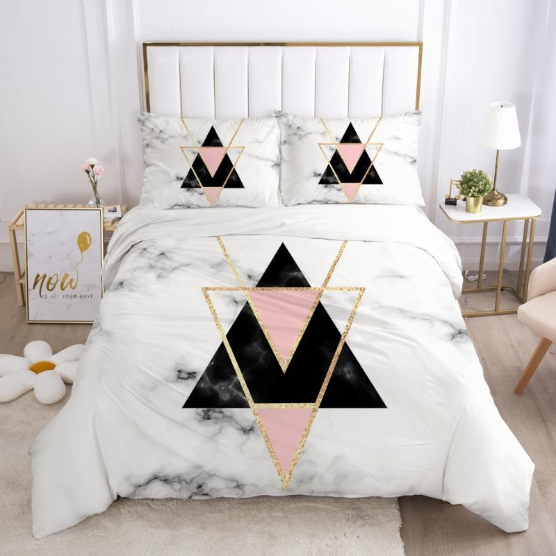 3D Bedding Set Comforter Duvet Cover Pillowcases Luxury Bed Linens Bed Set Queen King Europe Russia Size Nordic Marble Geometry