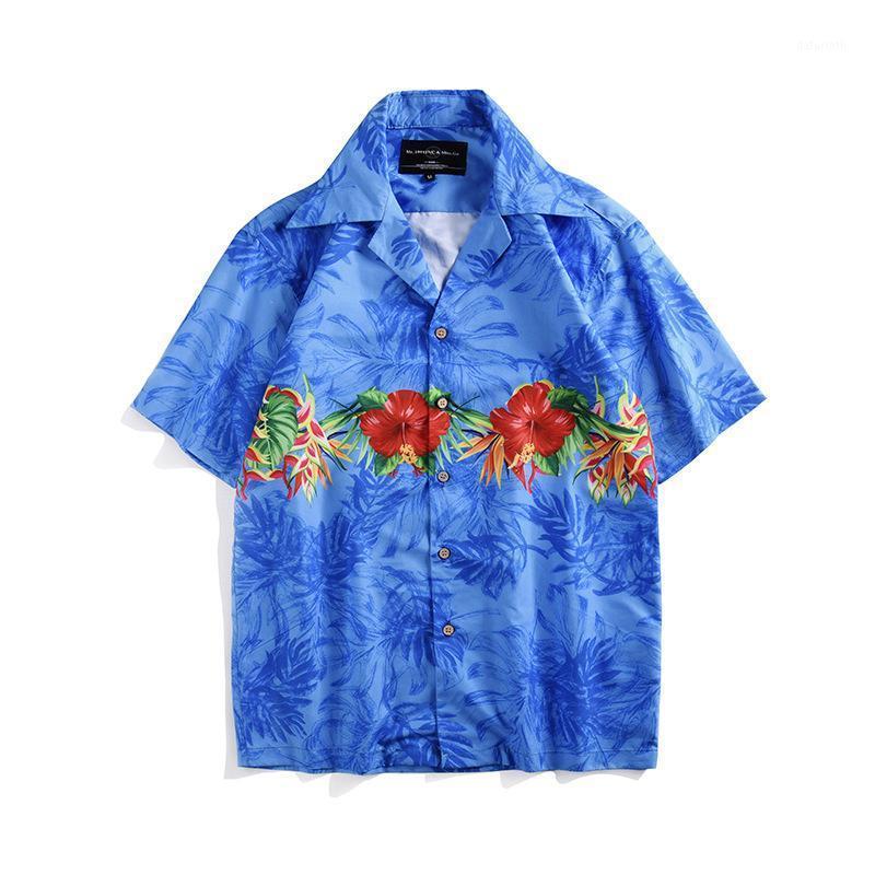 2019 Çiçek Baskı Hawaii Gömlek Casual Seyahat Plaj Gömlek Erkekler Moda Yaz Kısa Kollu Pamuk Gömlek Kime Chemise Homme1 Tops