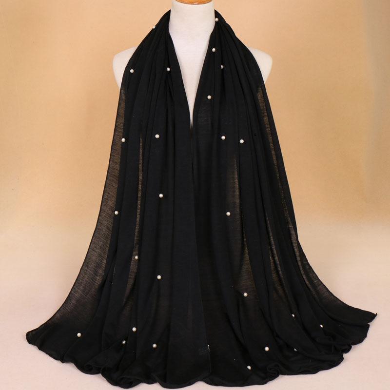 21 colori 180 * 80 cm jersey in pianura con perline hijab wrap cotone elastico elastico gli islam scialli perla maxi sciarpa fascia musulmana foulard sjaal t200407