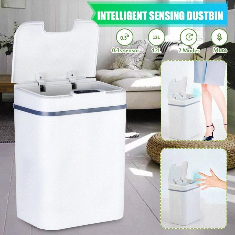 12L Papeleras cocina casero eléctrico automático completo inteligente de detección automática de basura cubo de basura de baño Papelera 7d94 #