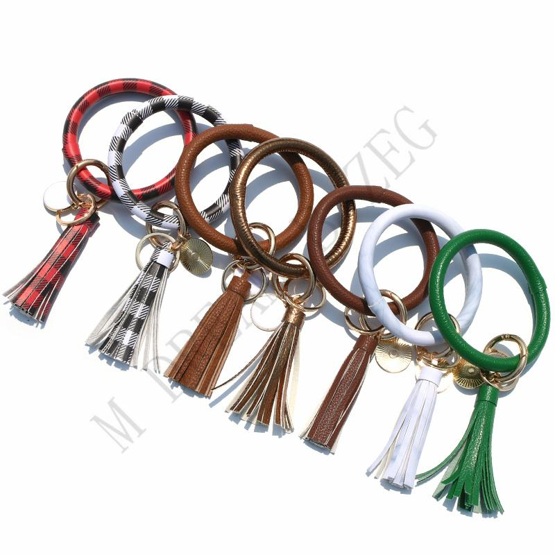 47 Colors Leather Tassels Bracelet Keychain PU Wrist Key Ring Leopard Sunflower Patterns Bangle Key Holder Hot Sale KKF2313