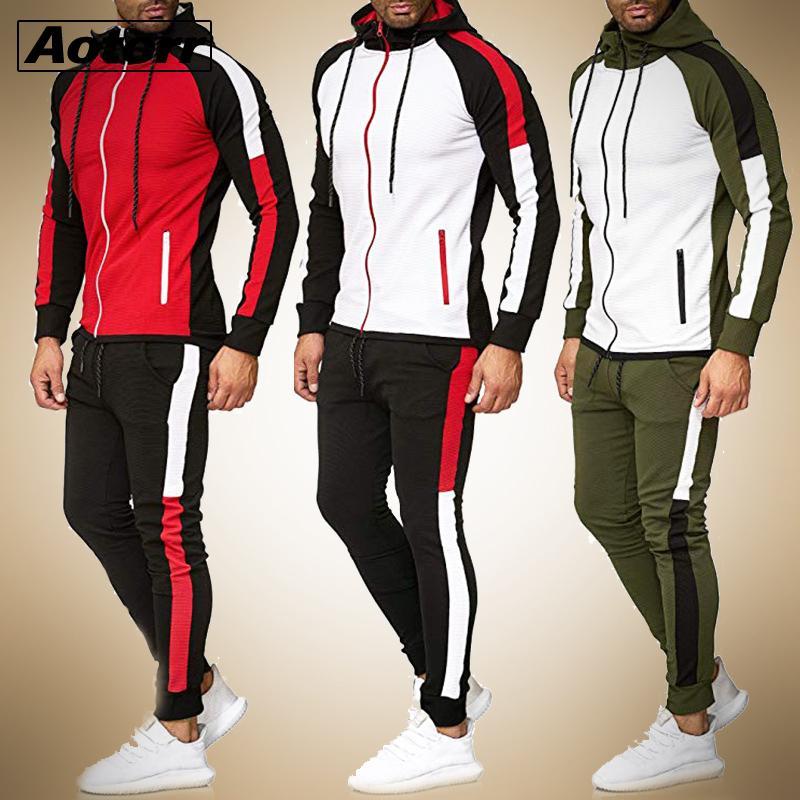 dos homens do hoodie jacket + pants Treino Masculino emenda manga comprida Casual 2 Piece Set bolso masculino zipper Slim Fit Corredores Gym Suit 1022