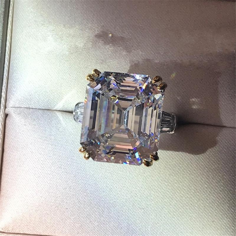 Vecalon Engagement Versprechen Ring 925 Sterling Silber Asscher Schnitte 6CT 5A CZ Luxus Hochzeit Band Ringe für Frauen Brautschmuck