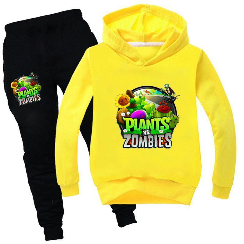 Plantas vs Zombies Criança Roupas de Queda Boys Algodão Girls Tops e Calças Define Boutique Crianças Roupas TrainingsPak Kinderen 20116