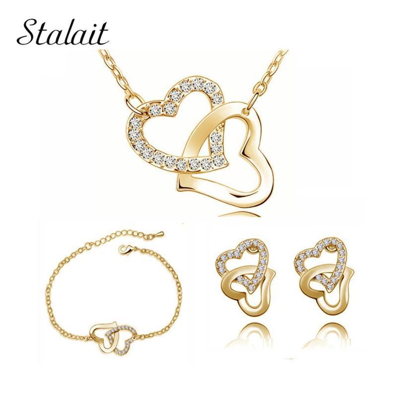 Giallo Colore Cuore d'Oro medaglione fascino dei monili di regali di compleanno di cristallo ceco doppio cuore all'ingrosso collana orecchini set
