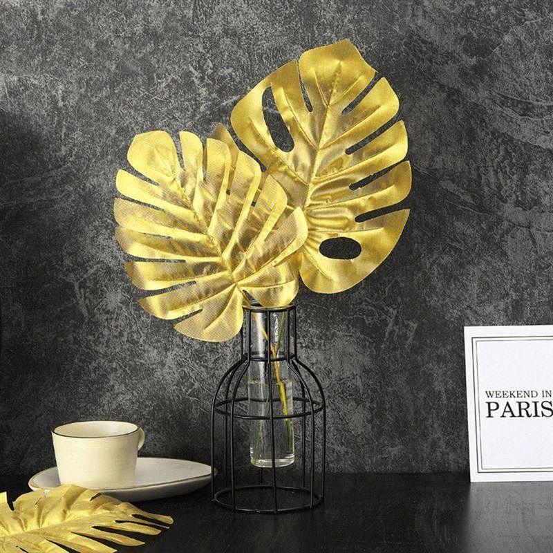 20PCS Goldene Gefälschte Blatt Artificial Tropical Palmblätter DIY-Anlage Heim Party Hochzeit Tabelle Tischdekoration Supplies Kayf #