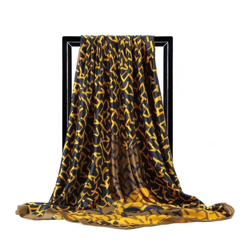 실크 스카프 여성 인쇄 머리 목 스퀘어 스카프 사무실 숙녀 어깨 걸이 손수건 90 * 90cm 무슬림 히잡 손수건 머플러 풀라