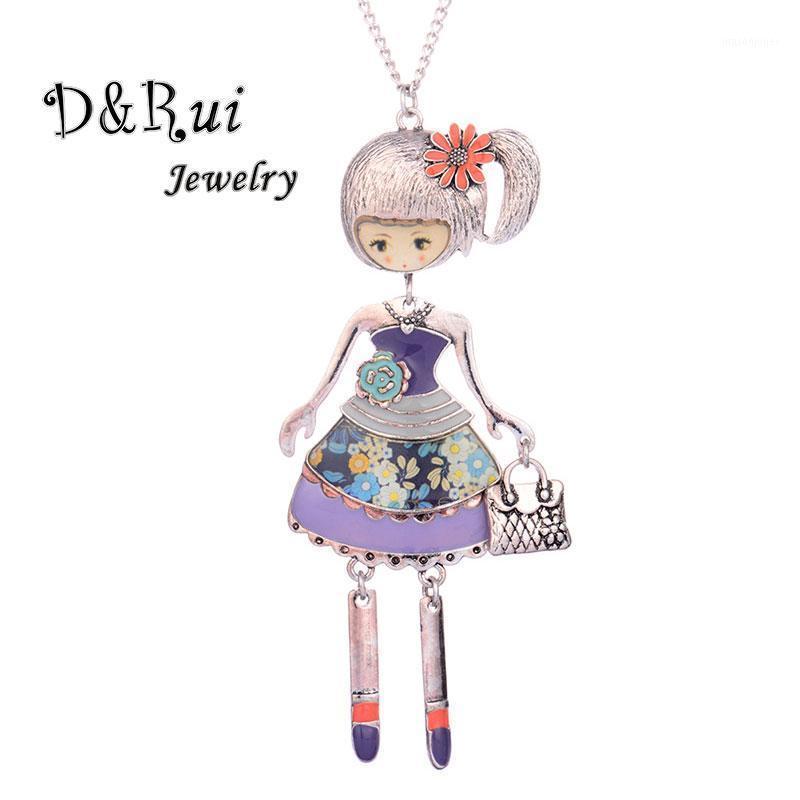 Кулон ожерелья танцевальная кукла ожерелье прекрасная девушка носить платье сумка подвески воротник ювелирные изделия длинный свитер цепи женские мода шарм ювелирные изделия1