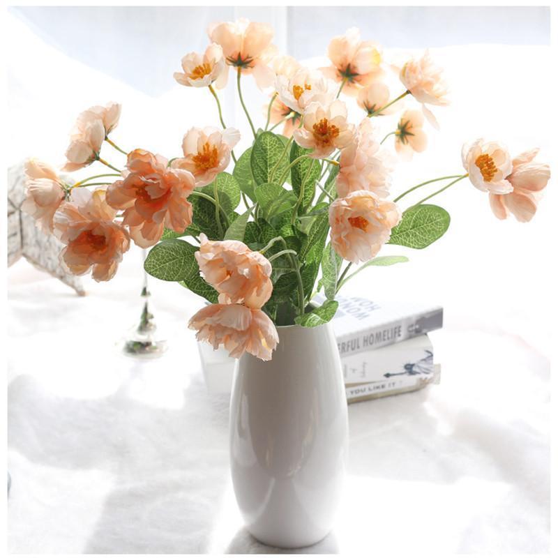 9Colors 2Heads Silk Rosemary Poppy Fleur artificielle Fleur de mariage Fleurs pour la décoration de mariage à la maison Fête fleur1