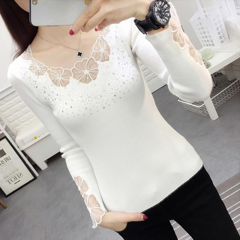 Lace Spring Bordery O-cuello Rhinestone Pullovers Mujeres Sexy Mesh hueco Out Outumn Sweders Soft Tops Lady Manga Larga Jersey1